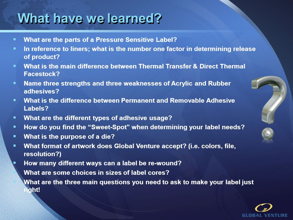 What have we learned What are the parts of a Pressure Sensitive Label