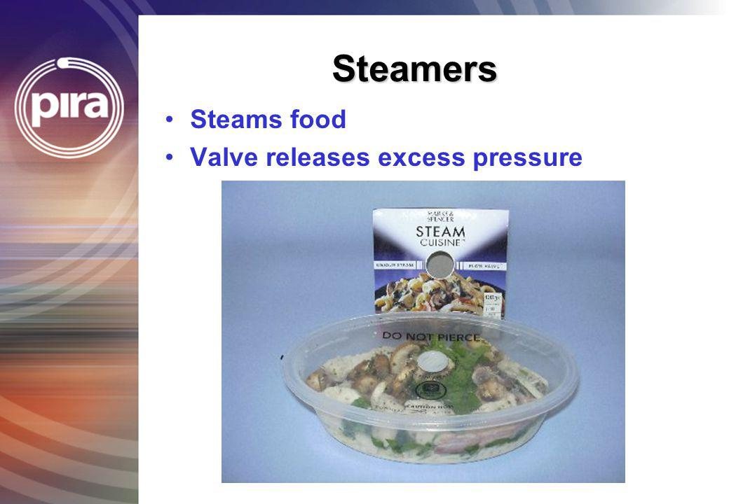 Steamers Steams food Valve releases excess pressure