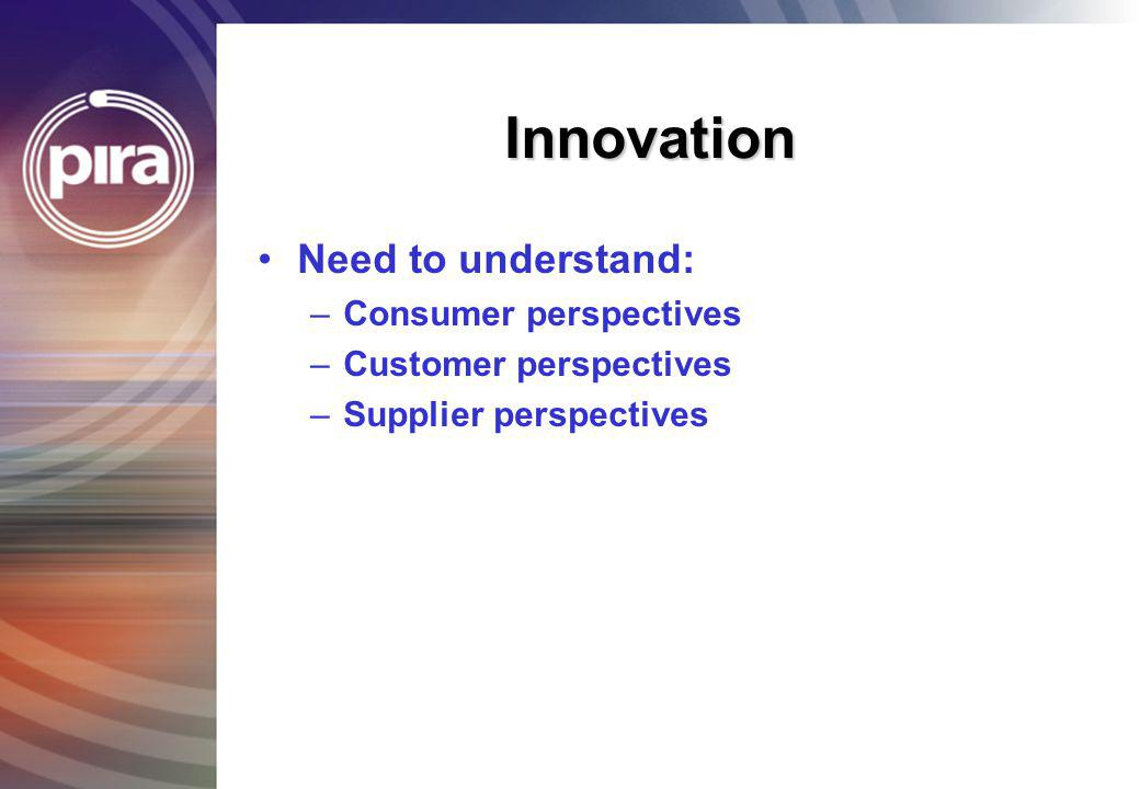 Innovation Need to understand: Consumer perspectives