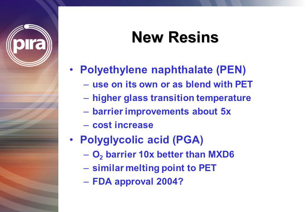 New Resins Polyethylene naphthalate (PEN) Polyglycolic acid (PGA)
