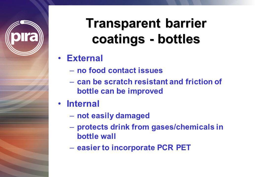 Transparent barrier coatings - bottles