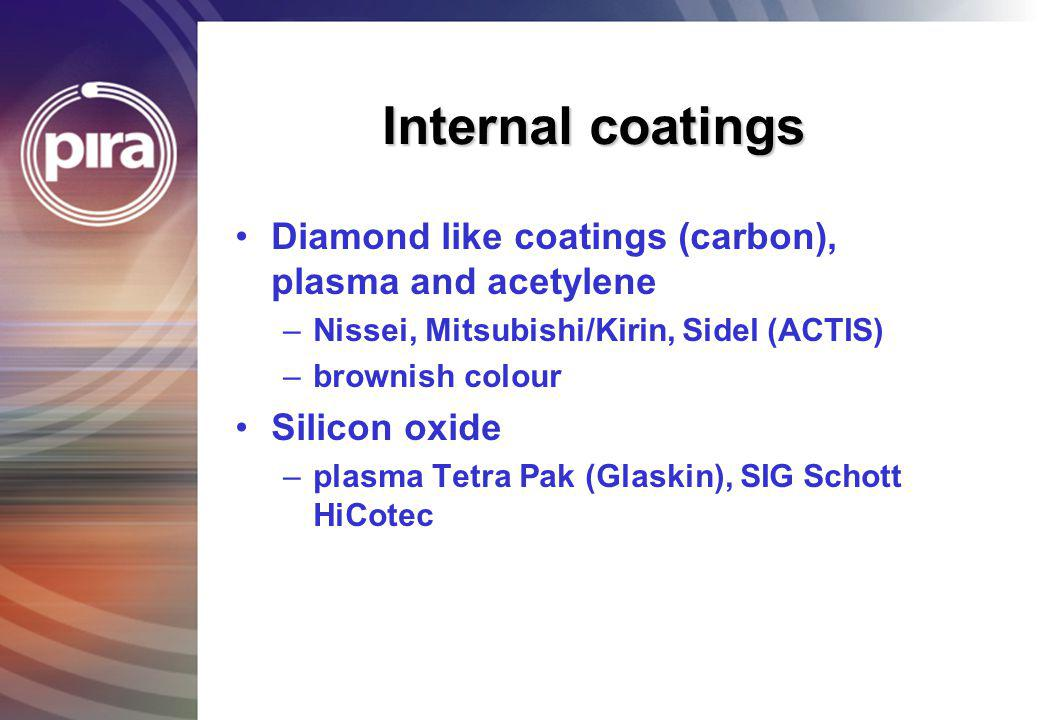 Internal coatings Diamond like coatings (carbon), plasma and acetylene