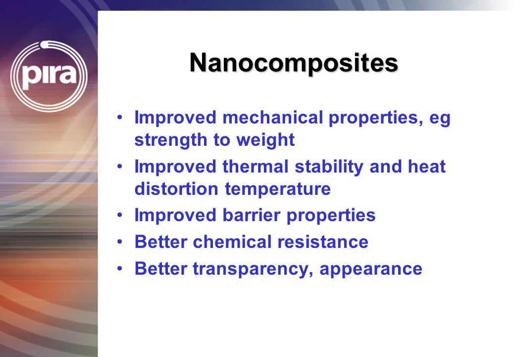 Nanocomposites Improved mechanical properties, eg strength to weight