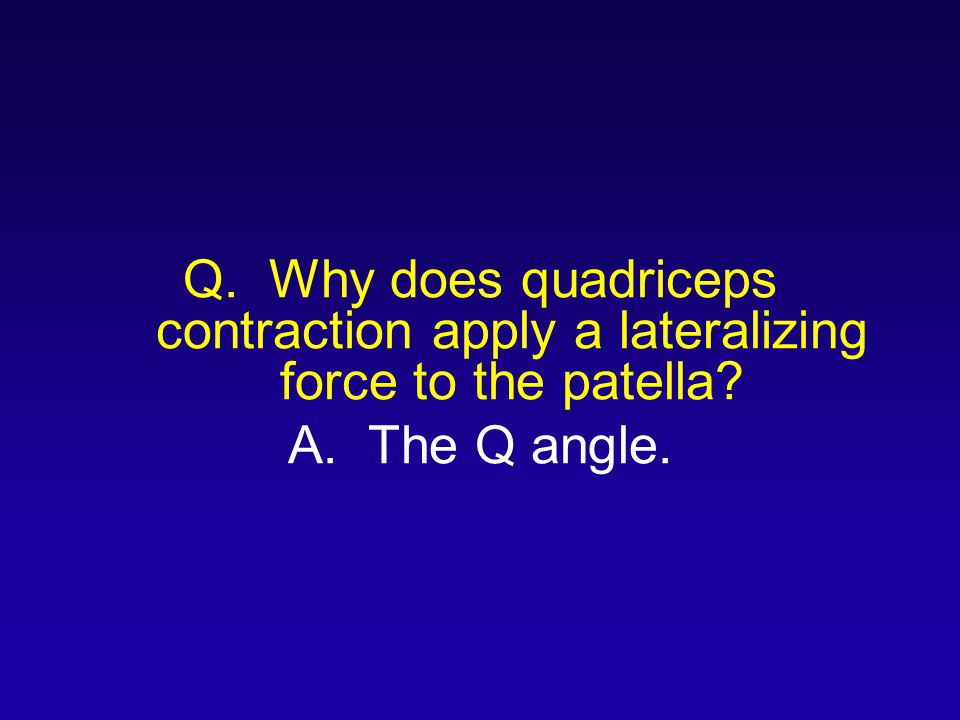Q. Why does quadriceps contraction apply a lateralizing force to the patella
