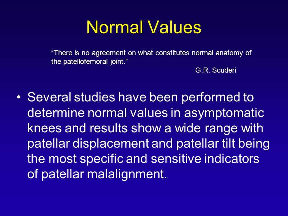 Normal Values There is no agreement on what constitutes normal anatomy of the patellofemoral joint.