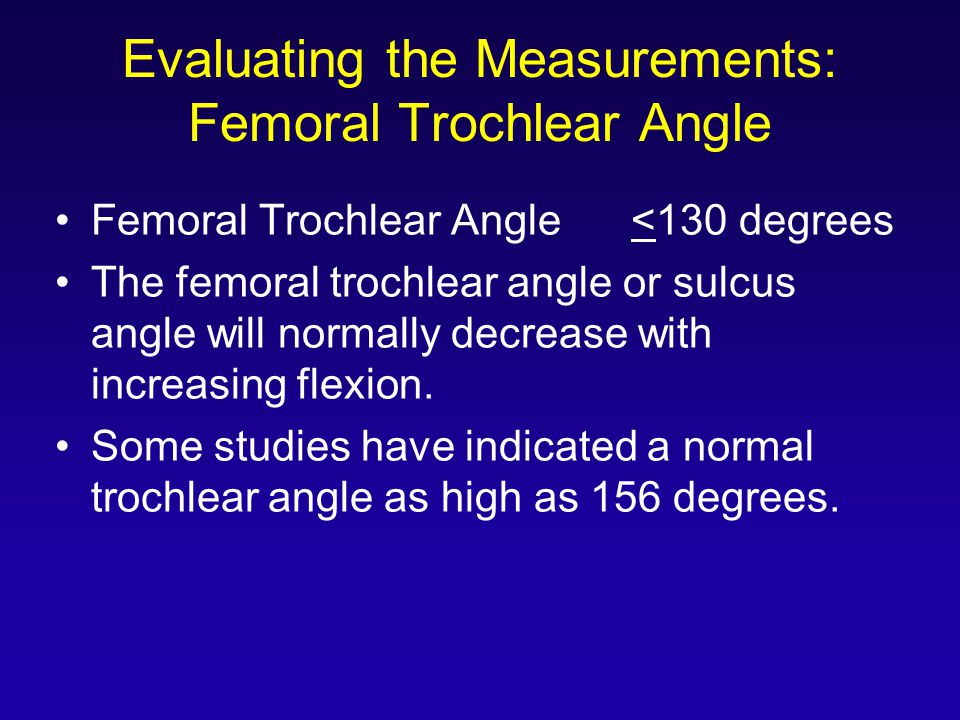 Evaluating the Measurements: Femoral Trochlear Angle