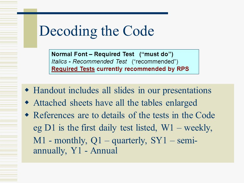 Decoding the Code Handout includes all slides in our presentations