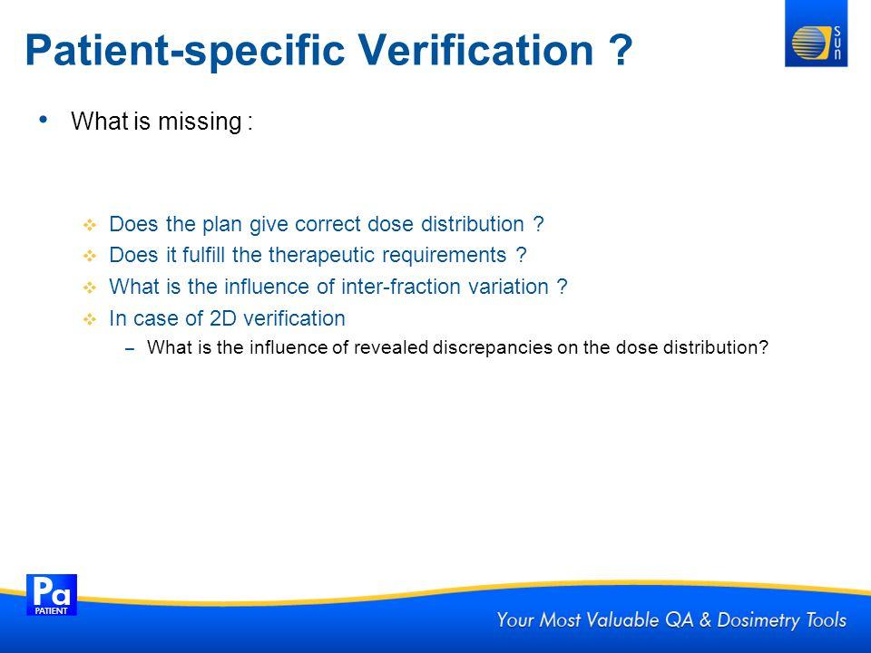Patient-specific Verification