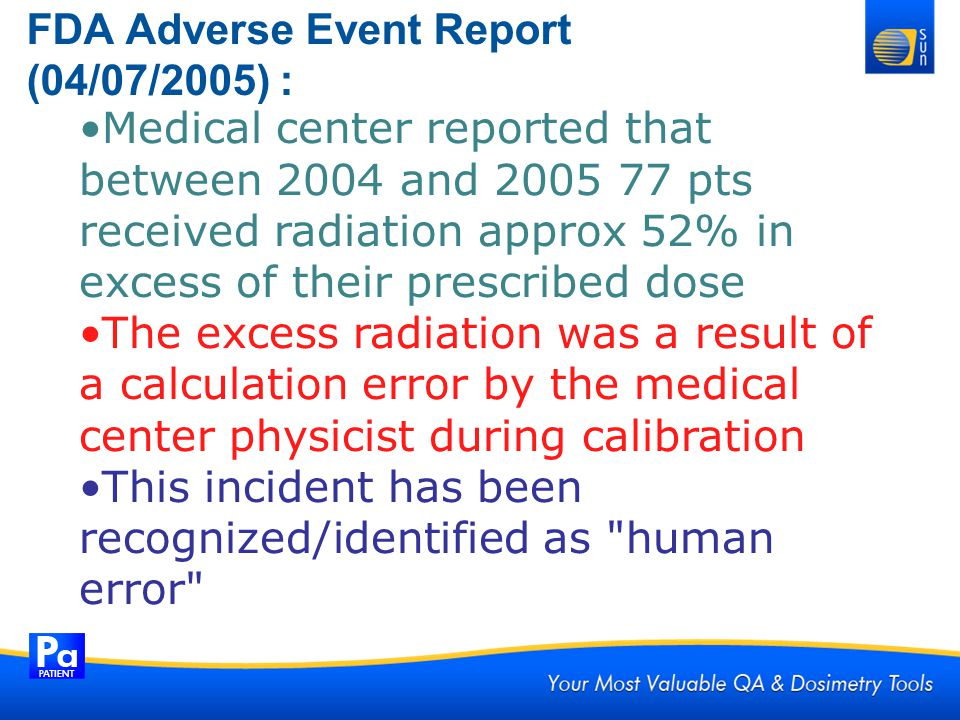 FDA Adverse Event Report (04/07/2005) :