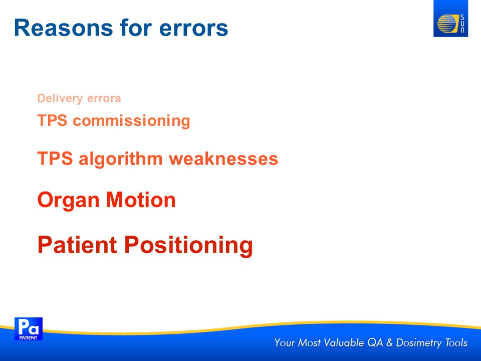 Reasons for errors Patient Positioning Organ Motion