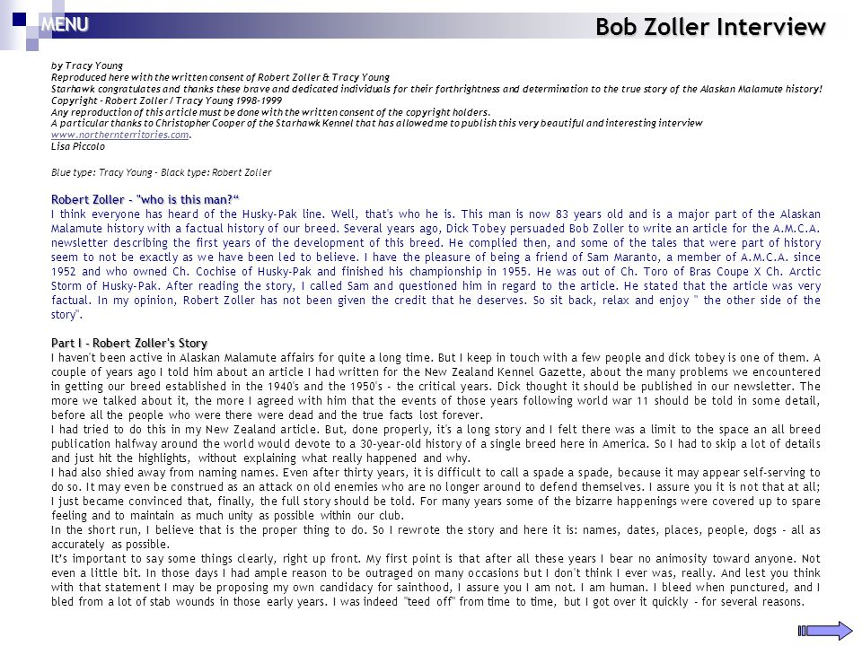 Bob Zoller Interview MENU