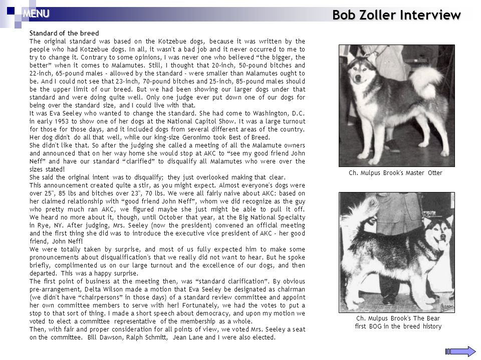 Bob Zoller Interview MENU Standard of the breed