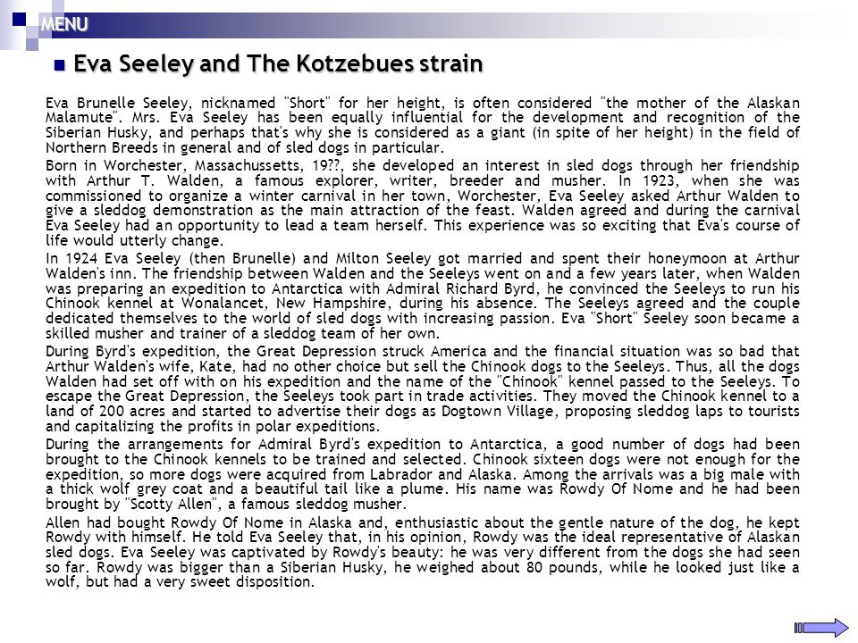 Eva Seeley and The Kotzebues strain