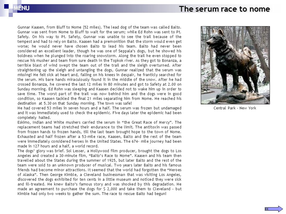 The serum race to nome MENU