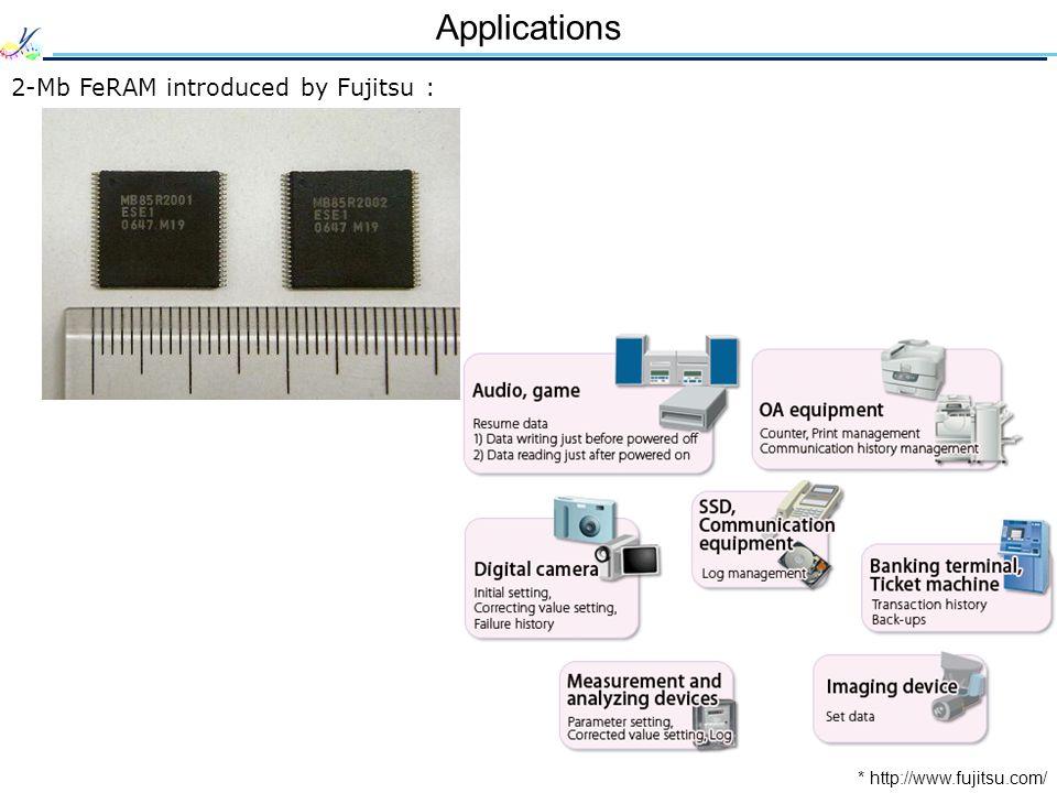 Applications 2-Mb FeRAM introduced by Fujitsu :