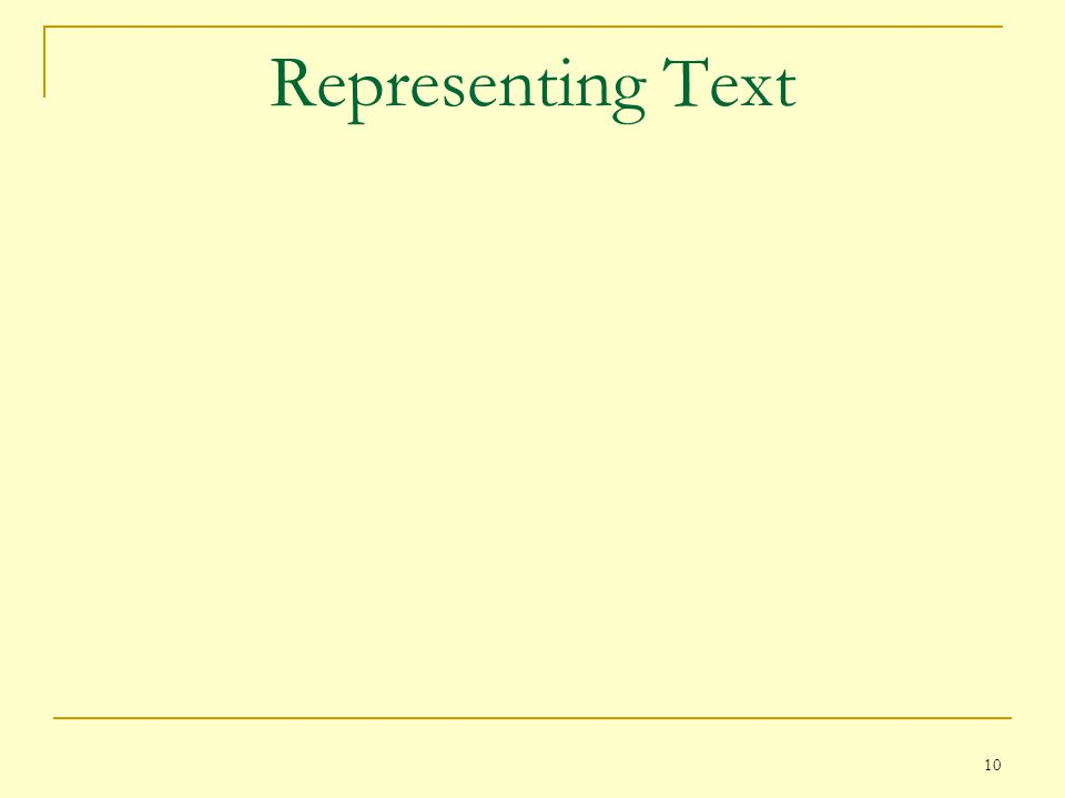 Representing Text
