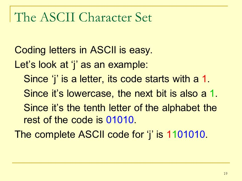 The ASCII Character Set