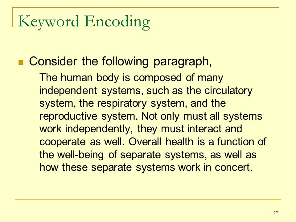 Keyword Encoding Consider the following paragraph,
