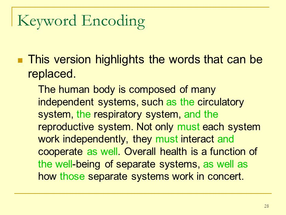 Keyword Encoding This version highlights the words that can be replaced.