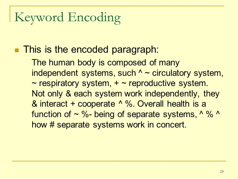 Keyword Encoding This is the encoded paragraph: