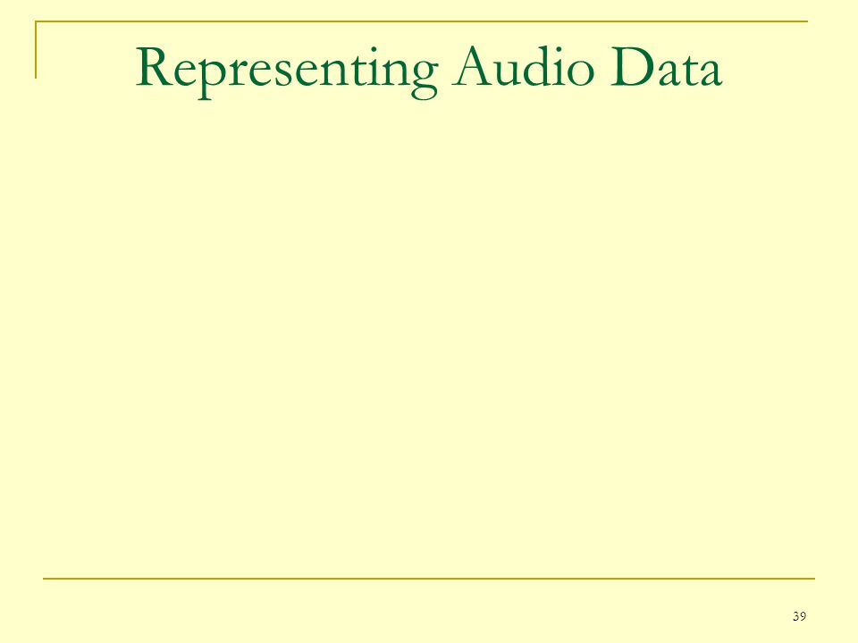 Representing Audio Data