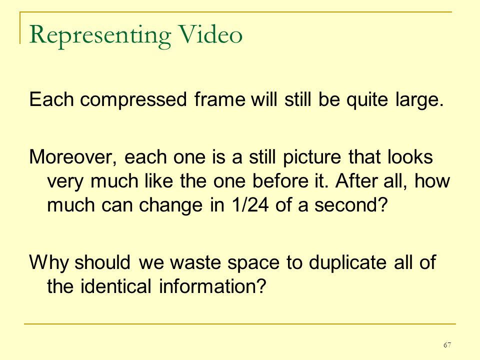 Representing Video Each compressed frame will still be quite large.