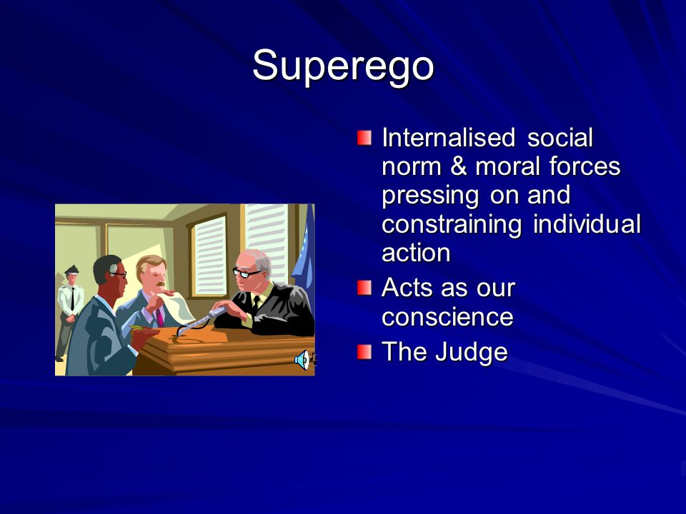 Superego Internalised social norm & moral forces pressing on and constraining individual action. Acts as our conscience.