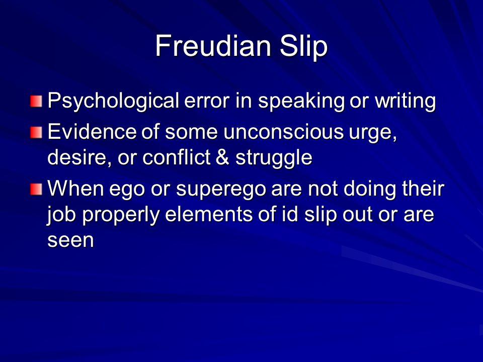 Freudian Slip Psychological error in speaking or writing