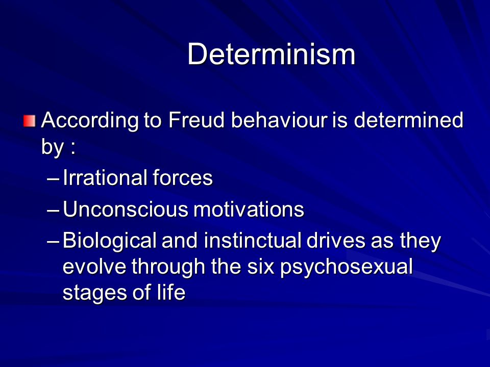 Determinism According to Freud behaviour is determined by :