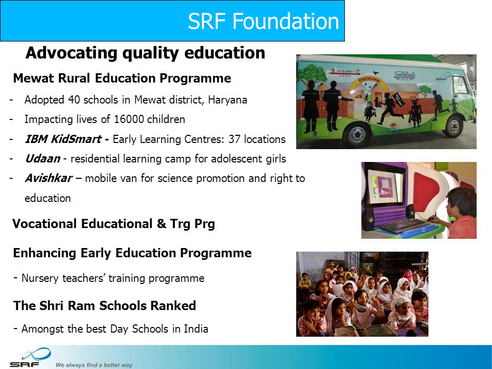 SRF Foundation Advocating quality education