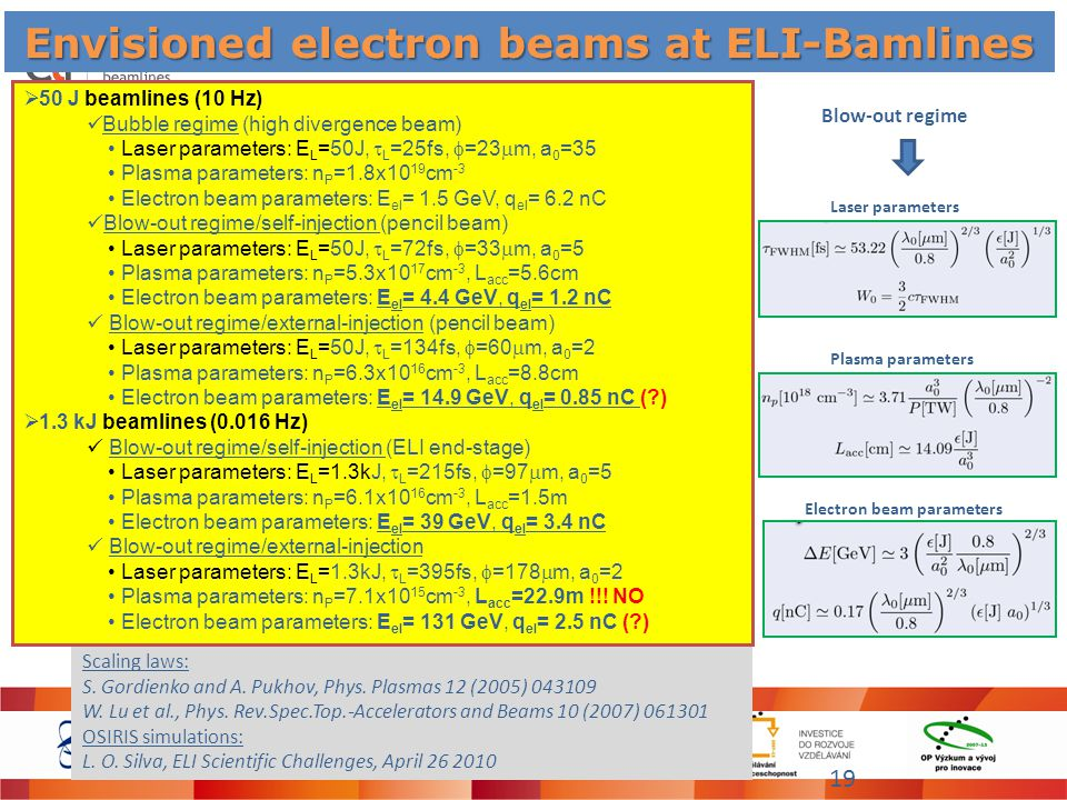 Envisioned electron beams at ELI-Bamlines