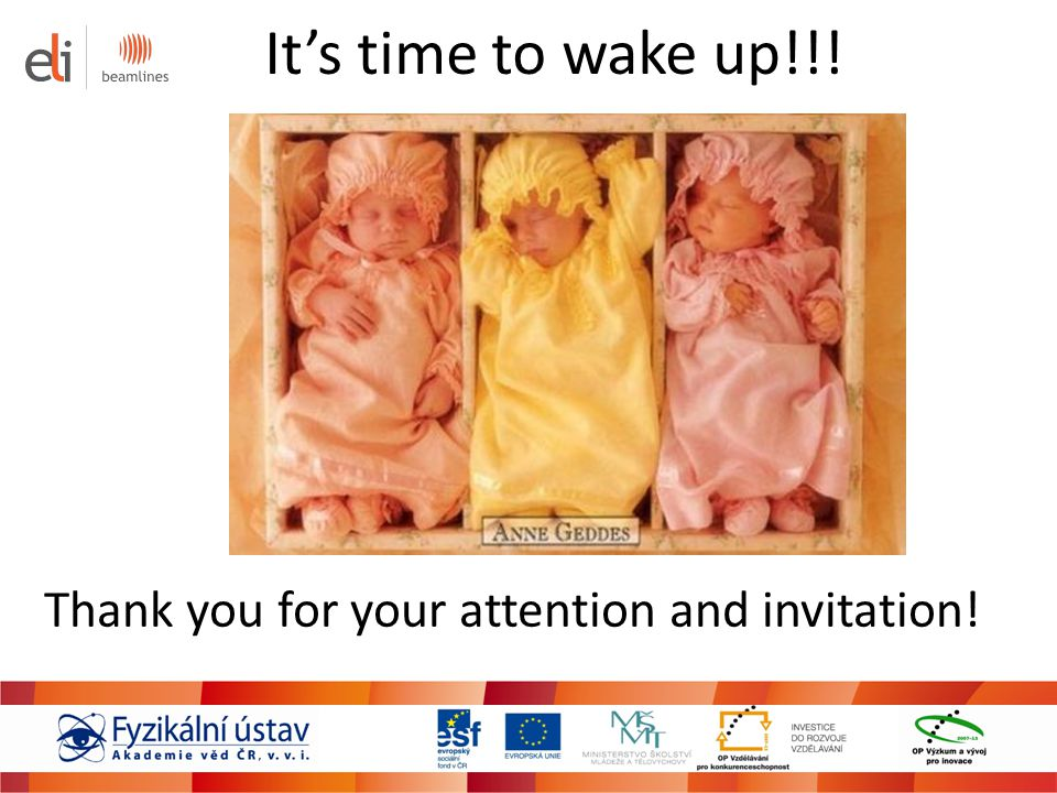 It's time to wake up!!! Thank you for your attention and invitation!