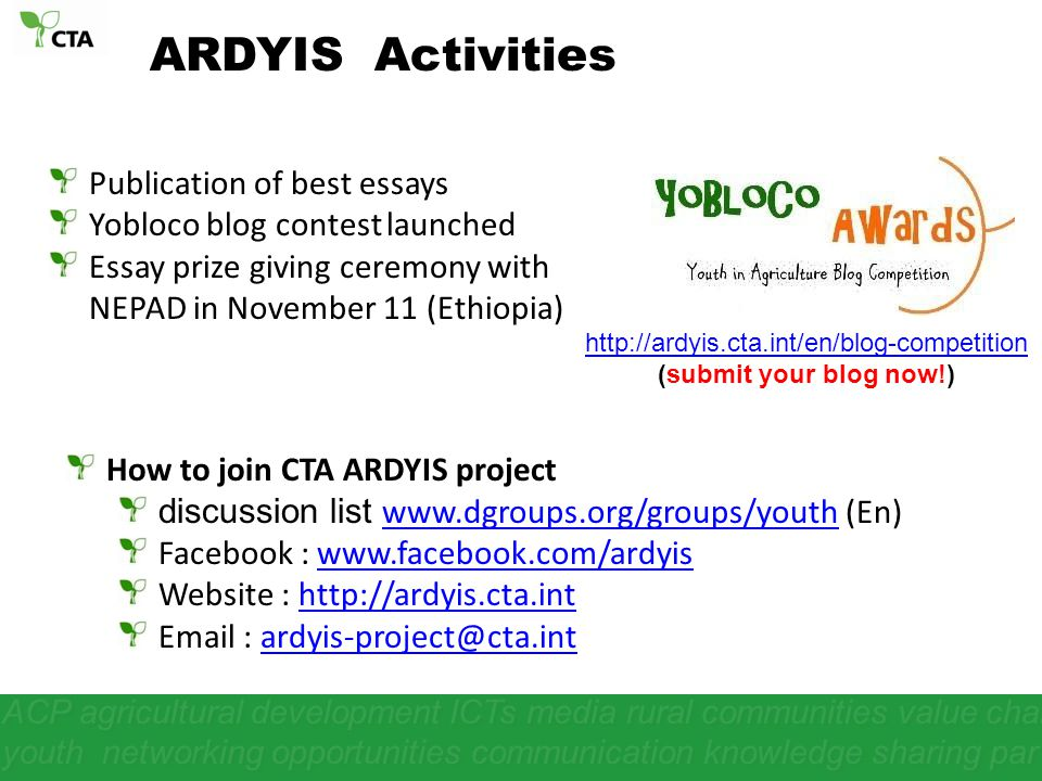 ARDYIS Activities Publication of best essays