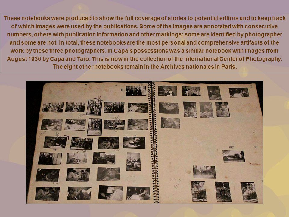 These notebooks were produced to show the full coverage of stories to potential editors and to keep track of which images were used by the publications.