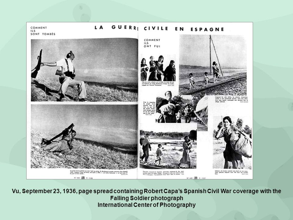Vu, September 23, 1936, page spread containing Robert Capa's Spanish Civil War coverage with the Falling Soldier photograph International Center of Photography