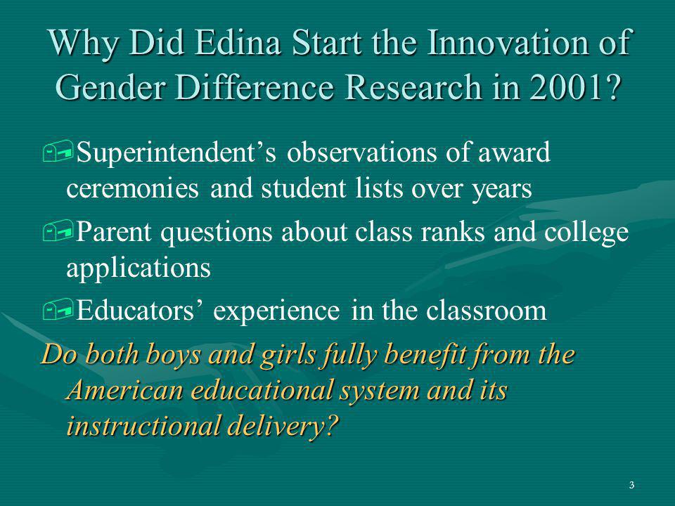 Why Did Edina Start the Innovation of Gender Difference Research in 2001