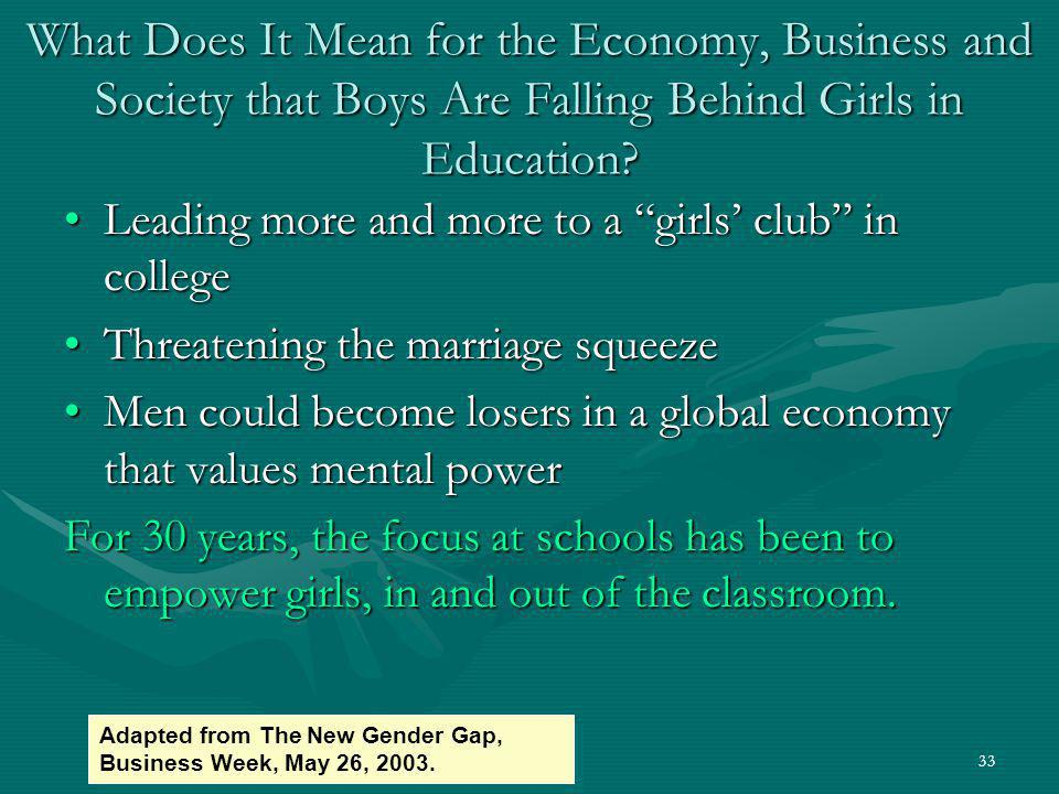 What Does It Mean for the Economy, Business and Society that Boys Are Falling Behind Girls in Education