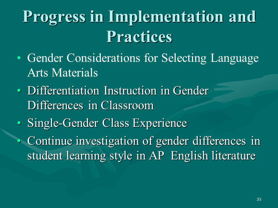Progress in Implementation and Practices
