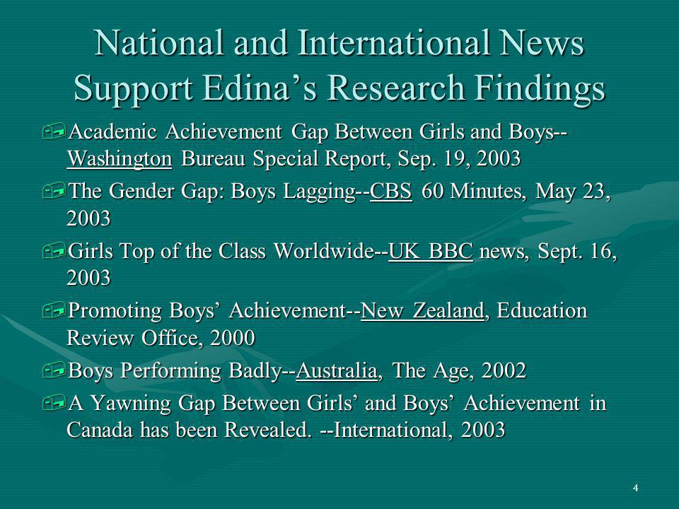 National and International News Support Edina's Research Findings