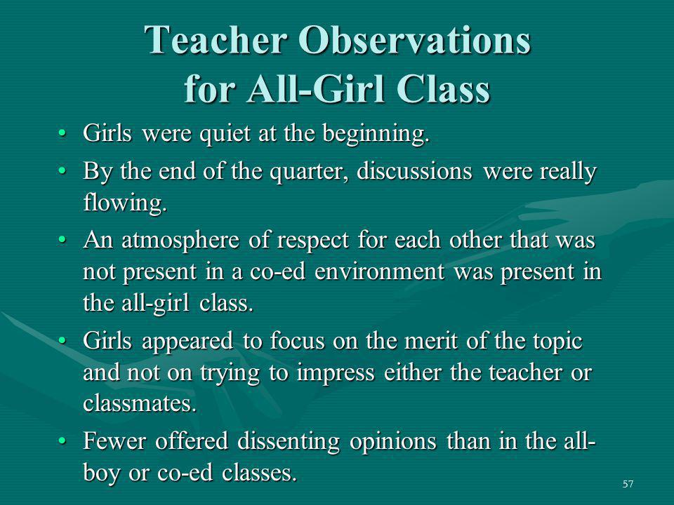 Teacher Observations for All-Girl Class