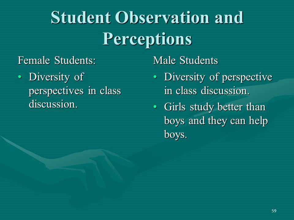 Student Observation and Perceptions