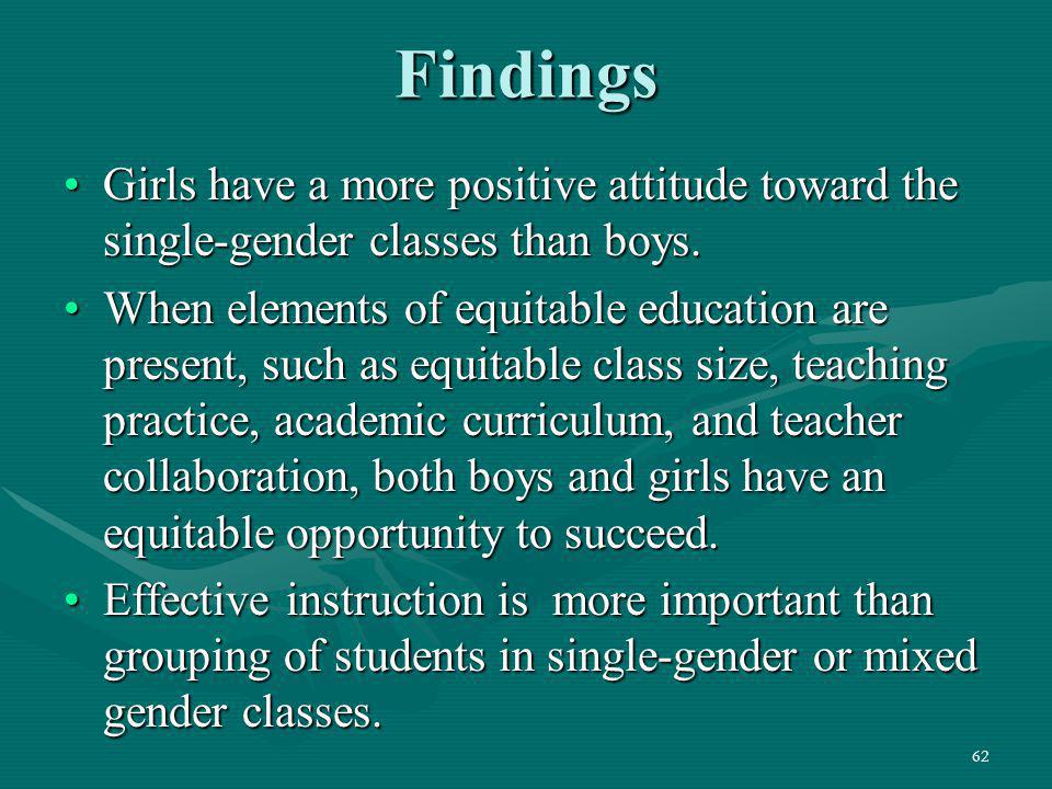 Findings Girls have a more positive attitude toward the single-gender classes than boys.