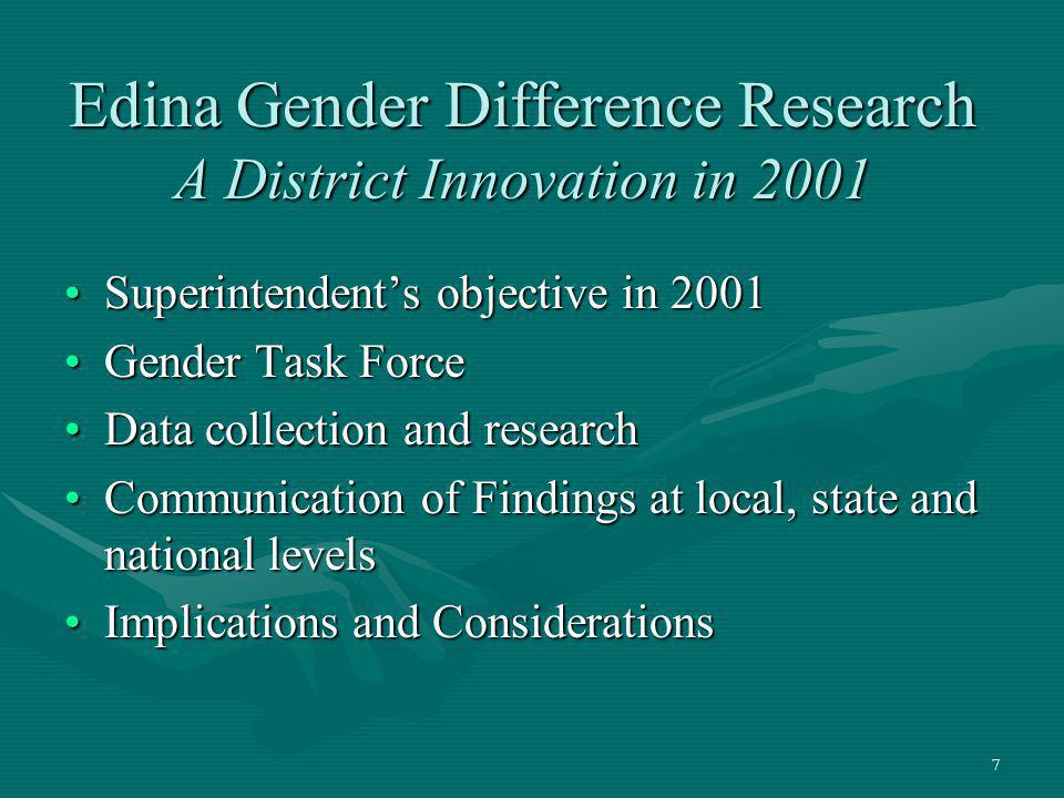 Edina Gender Difference Research A District Innovation in 2001
