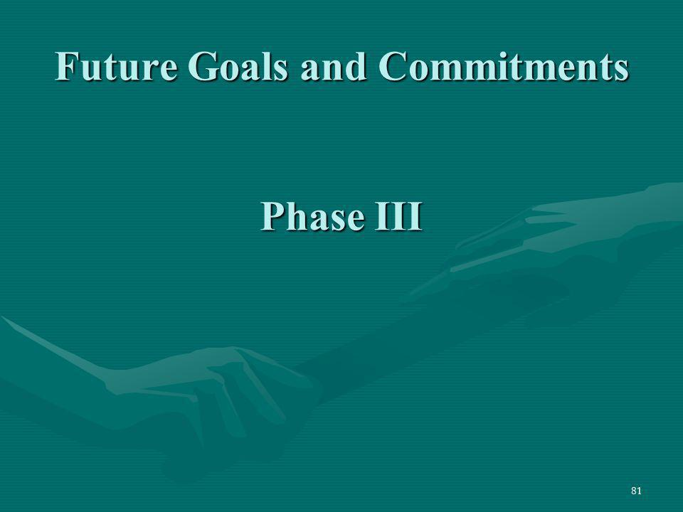 Future Goals and Commitments Phase III