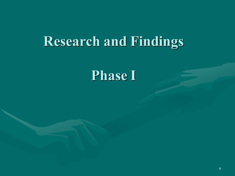 Research and Findings Phase I