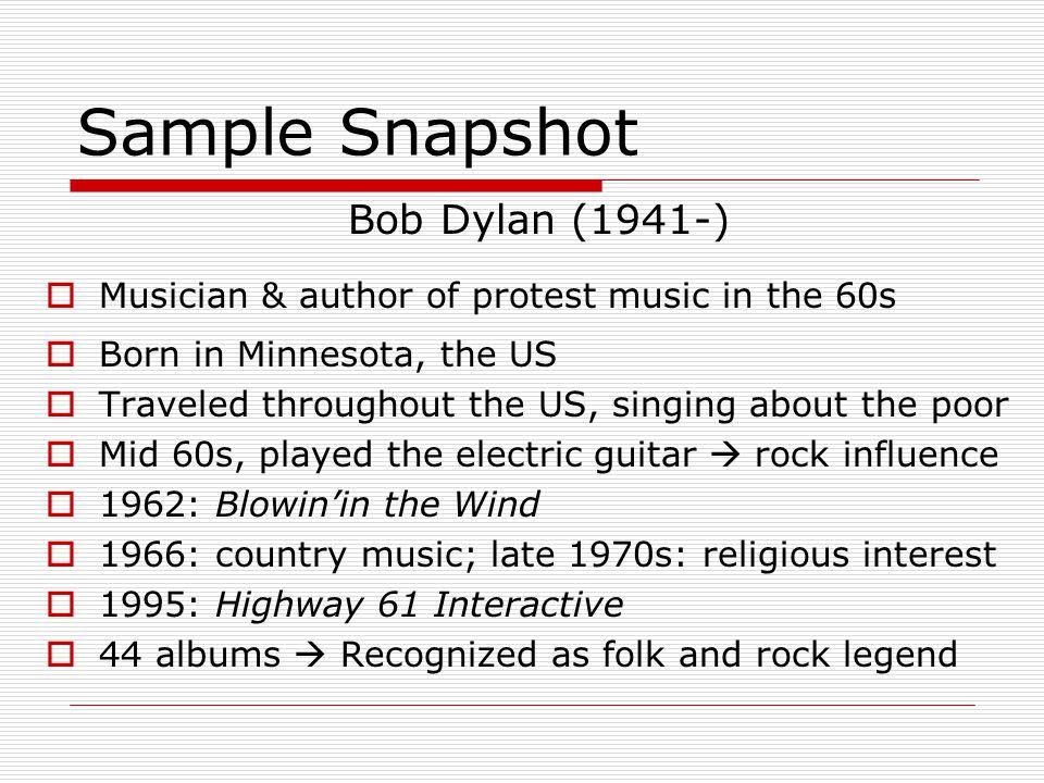 Sample Snapshot Bob Dylan (1941-)