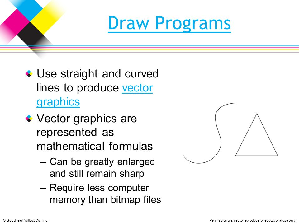 Draw Programs Use straight and curved lines to produce vector graphics