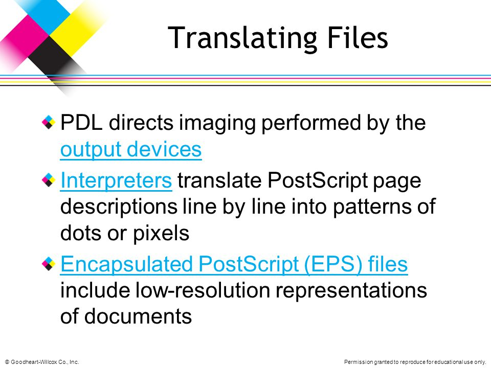 Translating Files PDL directs imaging performed by the output devices