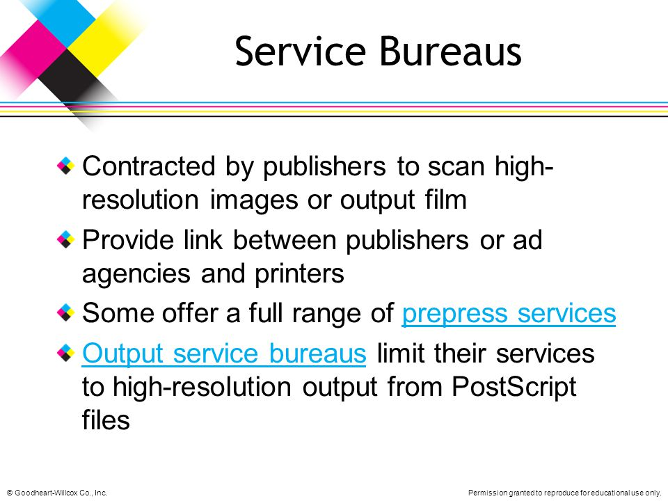 Service Bureaus Contracted by publishers to scan high-resolution images or output film. Provide link between publishers or ad agencies and printers.