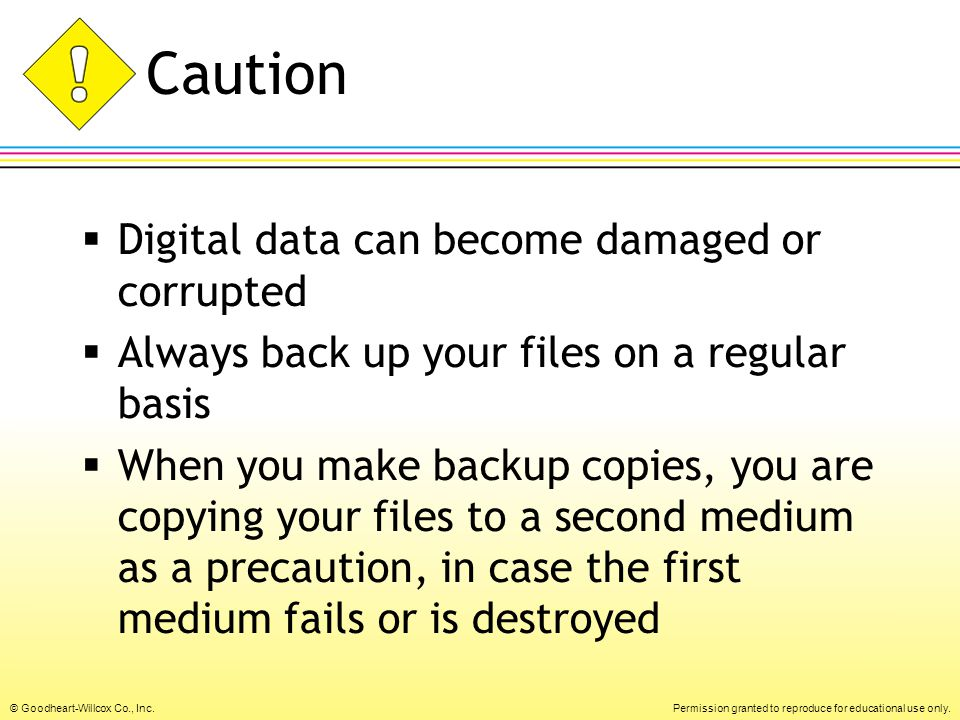 Caution Digital data can become damaged or corrupted